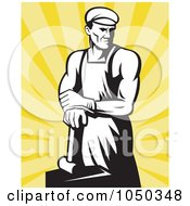 Royalty Free RF Clip Art Illustration Of A Black And White Blacksmith Over Yellow Rays