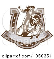 Royalty Free RF Clip Art Illustration Of A Retro Rodeo Cowboy And Horse Leaping Through A Horseshoe Banner