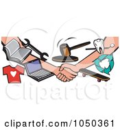 Royalty Free RF Clip Art Illustration Of Hands Shaking After An Auction Swap by patrimonio