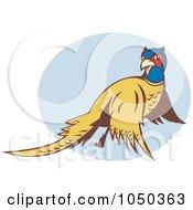 Royalty Free RF Clip Art Illustration Of A Pheasant Flying