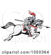 Royalty Free RF Clip Art Illustration Of A Jousting Knight With A Spear On A Running Horse by patrimonio