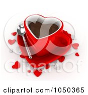 Royalty Free RF Clip Art Illustration Of A 3d Red Heart Shaped Coffee Cup On A Saucer With Confetti Hearts