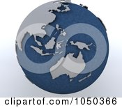 Royalty Free RF Clip Art Illustration Of A 3d Blue And Gray Asia Pacific Globe