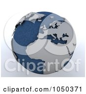 Royalty Free RF Clip Art Illustration Of A 3d Blue And Gray North Africa Globe by KJ Pargeter