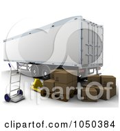 Royalty Free RF Clip Art Illustration Of A 3d Freight Trailer With Boxes