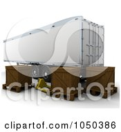 Royalty Free RF Clip Art Illustration Of A 3d Freight Trailer With Crates