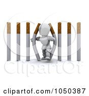 Royalty Free RF Clip Art Illustration Of A 3d White Character Walking Through Cigarette Bars by KJ Pargeter