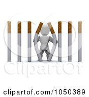 Royalty Free RF Clip Art Illustration Of A 3d White Character Pulling Apart Cigarette Bars