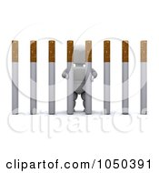 Royalty Free RF Clip Art Illustration Of A 3d White Character Behind Cigarette Bars