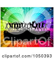 Royalty Free RF Clip Art Illustration Of Silhouetted Dancers Over A Grungy Black Bar On A Rainbow Burst by KJ Pargeter