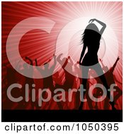 Royalty Free RF Clip Art Illustration Of Silhouetted Dancers Over A Red Party Burst