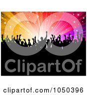 Royalty Free RF Clip Art Illustration Of A Silhouetted Crowd Of Fans Against A Rainbow Starry Burst