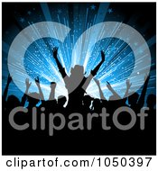 Royalty Free RF Clip Art Illustration Of A Silhouetted Crowd Of Fans Against A Blue Burst