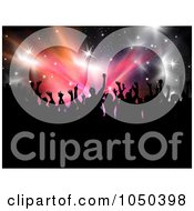 Royalty Free RF Clip Art Illustration Of A Silhouetted Party Crowd Over Stars And Bursts