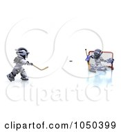 Royalty Free RF Clip Art Illustration Of 3d Robots Playing Hockey 2