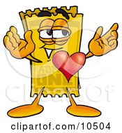 Yellow Admission Ticket Mascot Cartoon Character With His Heart Beating Out Of His Chest