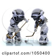 Royalty Free RF Clip Art Illustration Of 3d Robots Playing Hockey 3