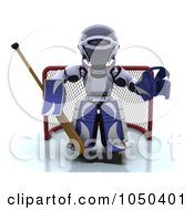 Royalty Free RF Clip Art Illustration Of A 3d Robot Goalie by KJ Pargeter