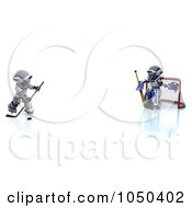 Royalty Free RF Clip Art Illustration Of 3d Robots Playing Hockey 1