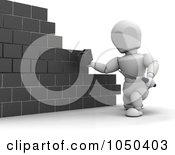 Royalty Free RF Clip Art Illustration Of A 3d White Character Mason Laying Blocks by KJ Pargeter