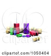 Royalty Free RF Clip Art Illustration Of 3d Capacitors Resistors And Semi Conductors by KJ Pargeter