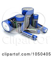 Royalty Free RF Clip Art Illustration Of 3d Blue Alkaline Batteries