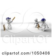 Royalty Free RF Clip Art Illustration Of 3d White Characters Playing Cricket by KJ Pargeter