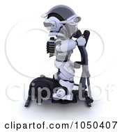 Royalty Free RF Clip Art Illustration Of A 3d Robot Exercising On A Crosstrainer 2