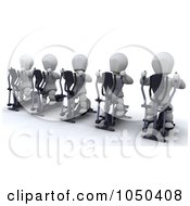Royalty Free RF Clip Art Illustration Of 3d White Characters Using Cross Trainers