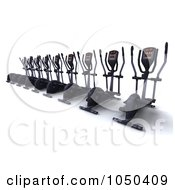 Royalty Free RF Clip Art Illustration Of A Row Of 3d Crosstrainers