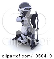 Royalty Free RF Clip Art Illustration Of A 3d Robot Exercising On A Crosstrainer 1