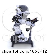 Royalty Free RF Clip Art Illustration Of A 3d Robot Exercising On A Crosstrainer 4