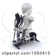 Royalty Free RF Clip Art Illustration Of A 3d White Character Using A Cross Trainer