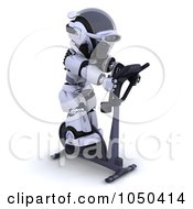 Royalty Free RF Clip Art Illustration Of A 3d Robot Exercising On A Crosstrainer 3