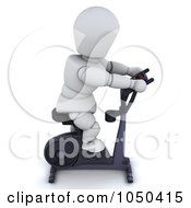Royalty Free RF Clip Art Illustration Of A 3d White Character Using An Exercise Bike