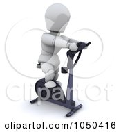 Royalty Free RF Clip Art Illustration Of A 3d White Character Using A Spin Bike by KJ Pargeter