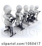 Royalty Free RF Clip Art Illustration Of 3d White Characters In Spin Class