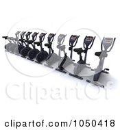 Royalty Free RF Clip Art Illustration Of A 3d Row Of Spin Bikes