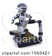 Royalty Free RF Clip Art Illustration Of A 3d Robot On A Treadmill by KJ Pargeter