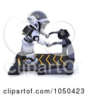 Royalty Free RF Clip Art Illustration Of A 3d Robot Getting On A Treadmill by KJ Pargeter