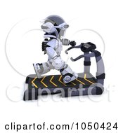 Royalty Free RF Clip Art Illustration Of A 3d Robot Running On A Treadmill by KJ Pargeter
