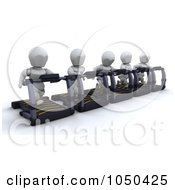 Royalty Free RF Clip Art Illustration Of 3d White Characters Running On Treadmills by KJ Pargeter