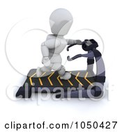 Royalty Free RF Clip Art Illustration Of A 3d White Character Running On A Treadmill by KJ Pargeter