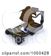 Royalty Free RF Clip Art Illustration Of A 3d Turkey Running On A Treadmill by KJ Pargeter