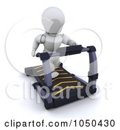 Royalty Free RF Clip Art Illustration Of A 3d White Character Walking On A Treadmill by KJ Pargeter