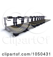Royalty Free RF Clip Art Illustration Of A 3d Row Of Treadmills by KJ Pargeter
