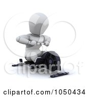 Royalty Free RF Clip Art Illustration Of A 3d White Character Using A Row Machine by KJ Pargeter
