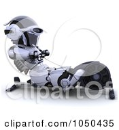 Royalty Free RF Clip Art Illustration Of A 3d Robot Exercising On A Rowing Machine by KJ Pargeter