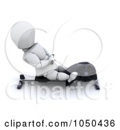 Royalty Free RF Clip Art Illustration Of A 3d White Character Using A Rower by KJ Pargeter