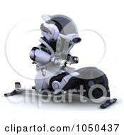 Royalty Free RF Clip Art Illustration Of A 3d Robot Using A Rowing Machine